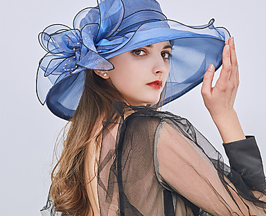 cheap Women's Accessories-Women's Party Hat Flower Party Street Holiday Wine Beige Patchwork Hat / Blue / Khaki / Fall / Winter / Spring