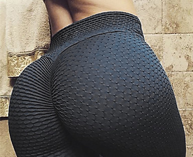 cheap Women's Bottoms-Women's Yoga Pants High Waist Tights Leggings Bottoms Scrunch Butt Ruched Butt Lifting Solid Color Tummy Control Butt Lift 4 Way Stretch Yellow Dark Black Fuchsia Yoga Fitness Gym Workout Spandex
