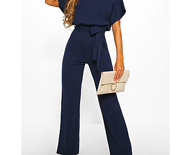 cheap Jumpsuits & Rompers-Women's Jumpsuit  Casual Daily Going out 2021 Black Blue Red Jumpsuit Solid Color Wide Leg Belted Loose
