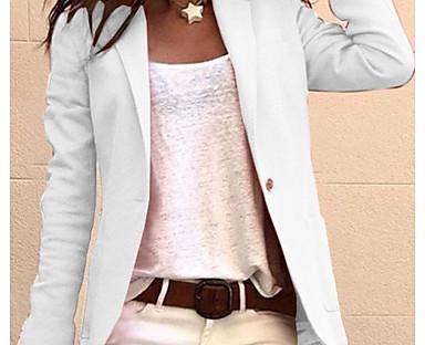 cheap Jackets-Women's Blazer Pocket Solid Colored Business Long Sleeve Coat Causal Fall Spring Regular Jacket Blushing Pink / Notch lapel collar / Work / Cotton