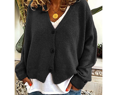 cheap Women's Tops & Sets-Women's Cardigan Solid Color Knitted Button Basic Casual Long Sleeve Sweater Cardigans Fall Winter V Neck Blue Yellow Red