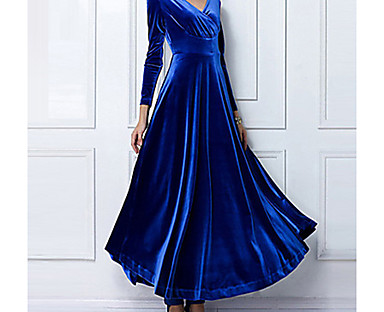 cheap AW 18 Trends-Women's Sheath Dress Maxi long Dress Purple Wine Green Royal Blue Black Long Sleeve Solid Colored Fall Spring V Neck Party Hot Vintage Going out Velvet S M L XL XXL 3XL / Plus Size / Plus Size