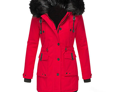cheap Down& Parkas-Women's Padded Long Coat Regular Fit Jacket Solid Colored Black Red