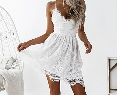 cheap Women's Dresses-Women's Strap Dress Short Mini Dress Pink White Black Sleeveless White Solid Color Backless Summer V Neck Hot Casual Sexy Holiday Club Slim 2021 S M L XL XXL / Lace / High Waist