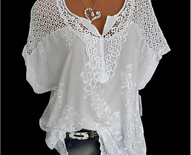 cheap Plus Size Collection-Women's Plus Size Blouse Shirt Long Sleeve Floral Lace Basic Classic Tops Loose Lace Cotton Blue Gray White