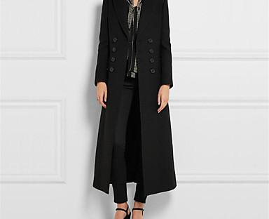 cheap Women's Outerwear-Women's Coat Fall Winter Daily WorkWear Date Long Coat Notch lapel collar Fashion Regular Fit Elegant & Luxurious Jacket Long Sleeve Oversized Solid Colored Black