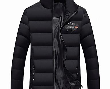 cheap Down& Parkas-Men's Padded Regular Coat Regular Fit Jacket Solid Colored Black Red Navy Blue