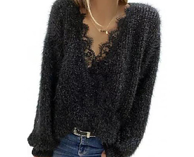 cheap Women's Tops & Sets-Women's Pullover Solid Color Knitted Long Sleeve Loose Sweater Cardigans Fall Spring V Neck Black