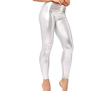 cheap Women's Bottoms-womens sexy liquid wet look shiny metallic stretch leggings pants (silver, one size)