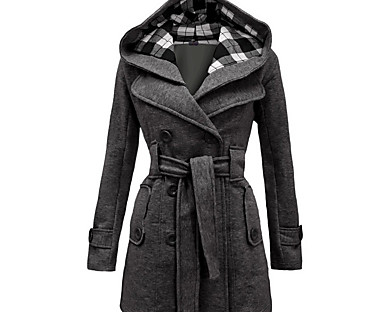 cheap Plus Size Collection-Women's Coat Fall Winter Casual Daily Long Coat Warm Fashion Regular Fit Vintage Modern Jacket Long Sleeve Lace Pocket Plaid Red Blue Dark Gray / Plus Size