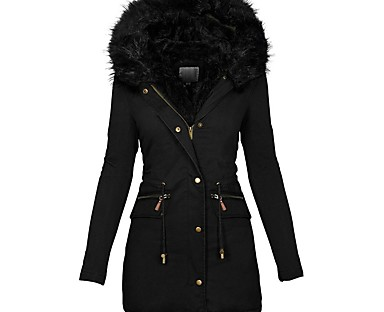 cheap Down& Parkas-Women's Parka Fall Winter Daily Wear Long Coat Hoodie Windproof Warm Slim Fit Chic & Modern Jacket Long Sleeve Fur Trim Drawstring Solid Color Wine Red Gray Green / Pocket / Lined / Lined