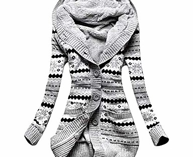 cheap Women's Tops & Sets-Women's Cardigan Geometric Knitted Button Print Cotton Casual Keep Warm Long Sleeve Regular Fit Sweater Cardigans Fall Winter Hooded Blue Blushing Pink Light gray