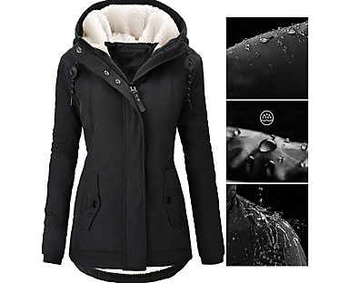 cheap Jackets-Women's Parka Fall Winter Street Causal Daily Wear Long Coat Loose Casual Sports Jacket Long Sleeve Zipper Pocket Solid Color Purple Blushing Pink Wine / Down & Parkas / Waterpoof / Lined