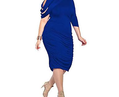 cheap Sale-Women's Knee Length Dress Bodycon Purple Royal Blue Black Blue Half Sleeve Sexy Solid Colored High Neck Summer Going out Work Asymmetrical L XL XXL 3XL 4XL 5XL