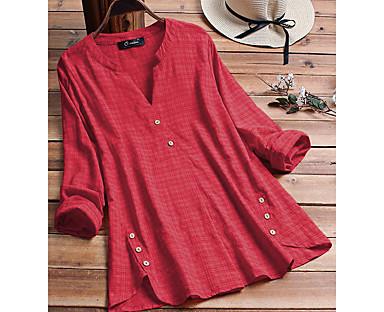 cheap Plus Size Collection-Women's Plus Size Tops Plain Blouse Shirt Button V Neck Long Sleeve Spring Summer Casual Daily Big Size L XL XXL 3XL 4XL / Cotton