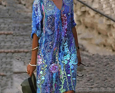 cheap Women's Dresses-Women's Loose Knee Length Dress 3/4 Length Sleeve Print Spring Summer V Neck Classic & Timeless Casual / Daily 2021 S M L XL XXL XXXL 4XL