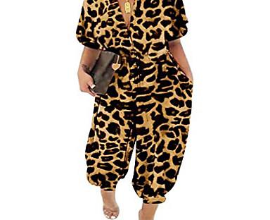 cheap Plus Size Collection-Women's Plus Size Leopard Print Jumpsuit Short Sleeve Polka Dot Leopard Spring Summer Charm Zebra ArmyGreen Black Leopard L XL XXL XXXL 4XL / Shirt Collar