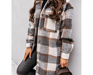 cheap Coats & Trench Coats-Women's Trench Coat Fall Winter Spring Holiday Going out Long Coat Warm Regular Fit Casual Streetwear Jacket Long Sleeve Patchwork Plaid Blue Gray Khaki