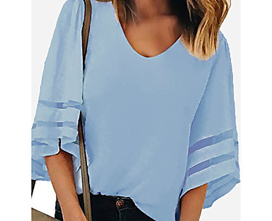 cheap Women's Tops-Women's Blouse Shirt Solid Colored Long Sleeve V Neck Tops Loose Wine White Blue