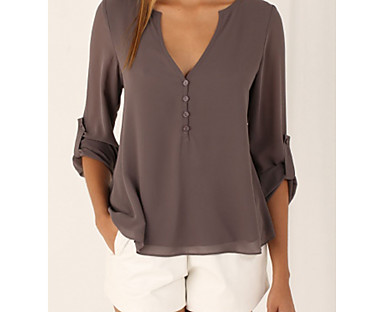 cheap AW 18 Trends-Women's Blouse Shirt Solid Colored Long Sleeve Deep V Casual Tops White Black Blue