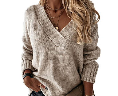 cheap Women's Tops & Sets-Women's Sweater Solid Color Casual Long Sleeve Loose Sweater Cardigans Fall Winter V Neck Blue Blushing Pink Gray / Holiday