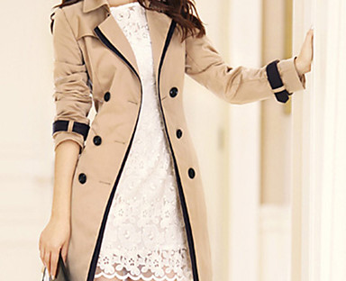 cheap Plus Size Collection-Women's Trench Coat Fall Winter Spring Daily Long Coat Notch lapel collar Regular Fit Jacket Long Sleeve Classic Style Solid Colored Khaki Black