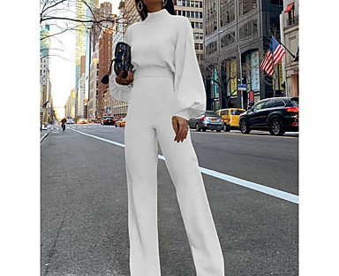cheap Jumpsuits & Rompers-Women's Basic Fashion Streetwear Crew Neck Party Daily 2021 Yellow Blushing Pink Green Jumpsuit Zipper Solid Color Lantern Sleeve