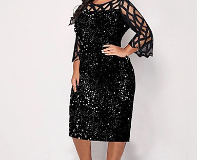 cheap Plus Size Collection-Women's Plus Size Dress Midi Dress Sheath Dress 3/4 Length Sleeve Solid Color Sequins Ruffle Fall Spring Casual / Regular Fit / Mesh