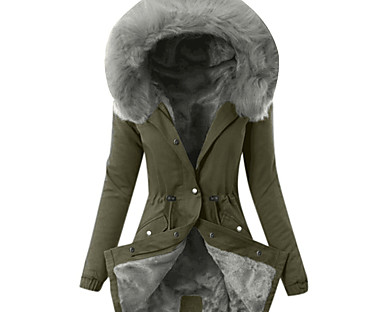 cheap Coats & Trench Coats-Women's Parka Fall Winter Spring Causal Outdoor clothing Daily Wear Long Coat Regular Fit Casual Jacket Long Sleeve Classic Solid Colored Blushing Pink Army Green Gray / Lined