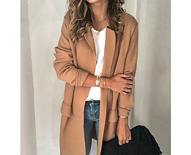 cheap Women's Outerwear-Women's Blazer Solid Color Classic Style Elegant & Luxurious Long Sleeve Coat Fall Spring Business Open Front Long Jacket Blushing Pink / Notch lapel collar / Cotton