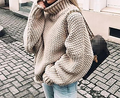 cheap Coats & Trench Coats-Women's Pullover Sweater Jumper Solid Color Knitted Basic Casual Chunky Long Sleeve Loose Sweater Cardigans Fall Winter Turtleneck Light Blue Purple Wine