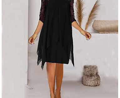 cheap Women's Dresses-Women's Knee Length Dress Sheath Dress Wine Red Black Dark Blue Half Sleeve Hollow Out Chiffon Lace Solid Color Round Neck Spring Summer Party Elegant Casual 2021 S M L XL 2XL 3XL 4XL 5XL