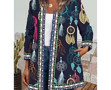 cheap Jackets-Women's Jacket Fall Spring Daily Regular Coat Round Neck Open Front Multi layer Regular Fit Casual Jacket 3D Print Long Sleeve Print Floral Striped White Black Navy Blue / Scenery