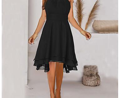 cheap Women's Dresses-Women's Knee Length Dress A Line Dress Navy Wine Red Blue Purple Green Black Sleeveless Cold Shoulder Solid Color Halter Neck Spring Summer Elegant Casual 2021 S M L XL XXL XXXL