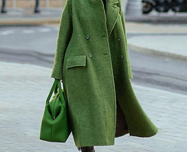 cheap Coats & Trench Coats-Women's Overcoat Fall Winter Daily Work Maxi Coat Turndown Stand Collar Double Breasted Warm Loose Casual Jacket Long Sleeve Quilted Solid Color Gray Khaki Green