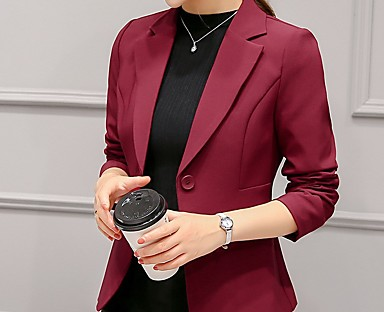 cheap Women's Outerwear-Women's Blazer Solid Colored Classic Style Ordinary Long Sleeve Coat Fall Spring Daily Single Breasted One-button Regular Jacket Blushing Pink / Work