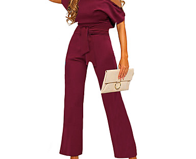 cheap AW 18 Trends-Women's Elegant Casual One Shoulder Casual Daily Work 2021 Blue Yellow Wine Jumpsuit Solid Color / Wide Leg