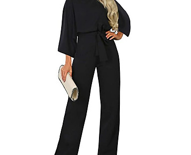 cheap Jumpsuits & Rompers-Women's Ordinary Street Casual Daily Off Shoulder 2021 Khaki Black Navy Blue Jumpsuit Solid Color Patchwork
