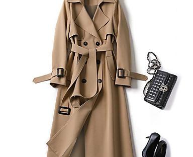 cheap Coats & Trench Coats-Women's Trench Coat Fall Winter Spring Daily Outdoor clothing Work Long Coat Warm Regular Fit Fashion Classic Jacket Long Sleeve Lace up Patchwork Plaid Solid Colored Blue Camel Black