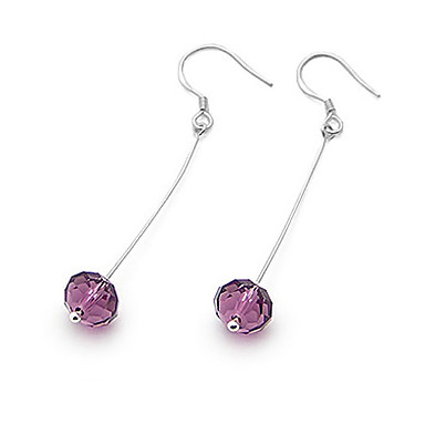Round Faceted Crystal And Sterling Silver Drop Earrings (More Colors)