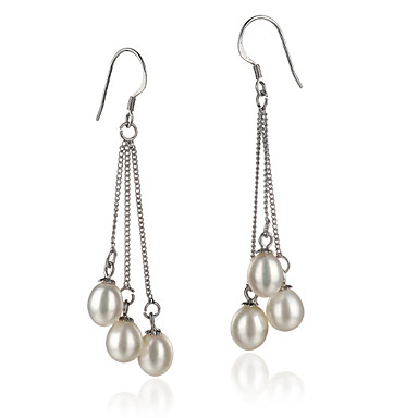 AAA 7-8mm white freshwater Pearl Earring With Sterling Silver Clasp