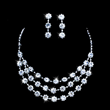 Alloy With Rhinestones Jewelry Set,Including Necklace And Earrings