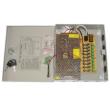 Fuente de Poder 9-Channel 12V DC 10A Regulated para Seguridad sistemas 23.5*20.5*5cm 1.2kg