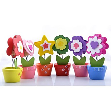 Flower Wood Place Card Holders Clips Poly Bag 6 pcs