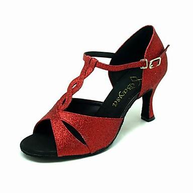 Sparkling Glitter Upper Red High heel Dance Shoes Ballroom Latin Shoes for Women