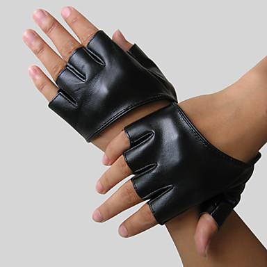 imitación de cuero medio dedo, muñeca guantes hasta el partido