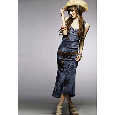 blauwe chiffon maxi jurk met bandjes