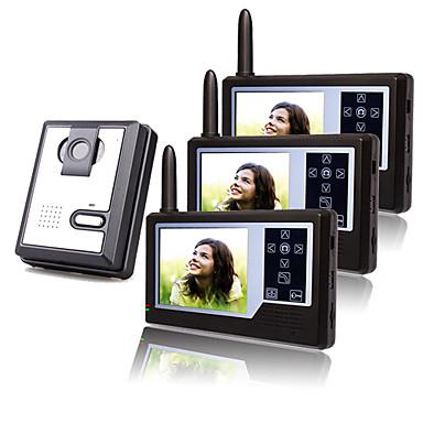 drie draadloze 3,5-inch tft-monitoren video deur telefoon met camera (record, foto)
