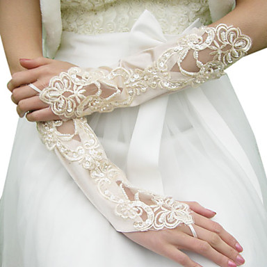Satin Elbow Length Glove Bridal Gloves With Beading Sequins