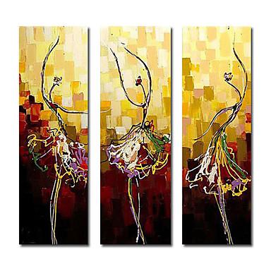 El-Boyalı Soyut Dörtgen Tuval Hang-Boyalı Yağlıboya Resim Ev dekorasyonu Üç Panelli